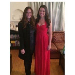 Stunning, bright red floor length formal dress!